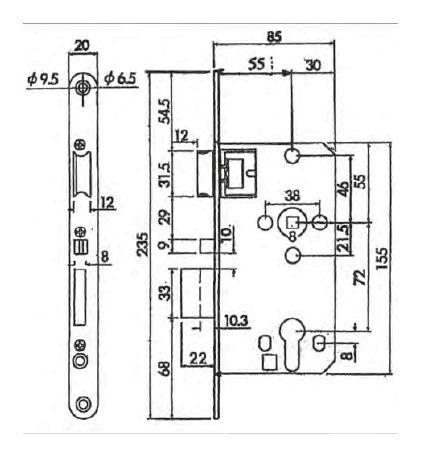 einsteckschloss abus ma e gel nder f r au en. Black Bedroom Furniture Sets. Home Design Ideas