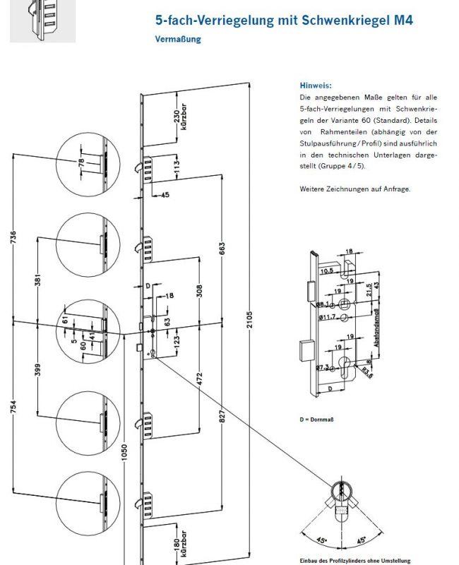 winkhaus mehrfachverriegelung m2 mit 2 schwenkhaken 92 65 20 10 142 42. Black Bedroom Furniture Sets. Home Design Ideas